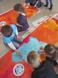 Oeuvre collective à l'école élémentaire