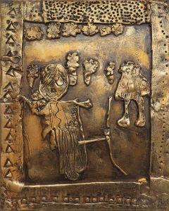 Bas-relief en argile dorée : Ulysse et Athéna