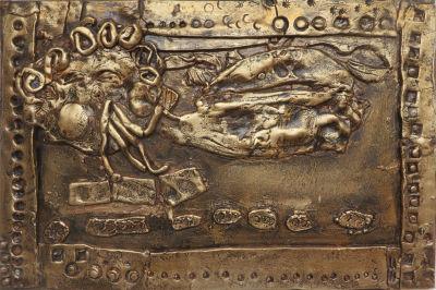 Bas-relief en argile crue : Eole et les vents