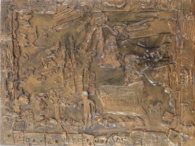 Tableau peint avec une couleur bronze et des encres