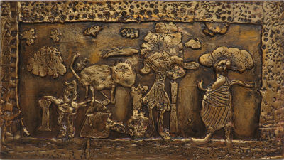 Tableau peint et ciré : Circé et les cochons