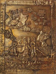 Bas-relief doré : Ulysse et les sirènes