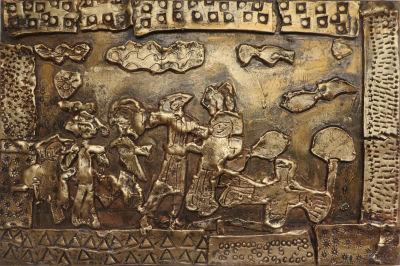 Bas-relief en argile dorée : Ulysse et Nausicaa