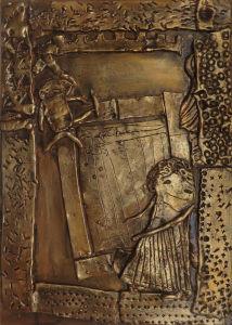 Bas-relief en argile : Télémaque et le métier à tisser