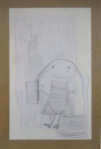Dessin d'enfant : Télémaque et le métier à tisser