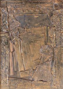 Tableau peint avant application de la cire dorée