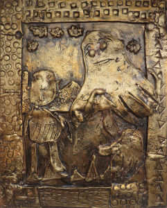 Bas-relief en argile : Ulysse au Royaume des morts :