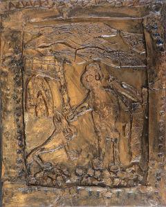 Bas-relief en argile peinte