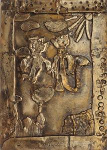 Bas-relief en argile : Ulysse et Télémaque