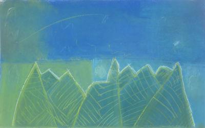 Paysage bleu et vert