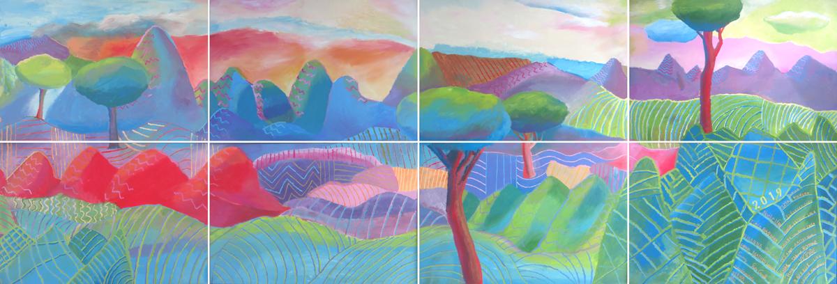 Grans tableau peint pour décorer la cour de l'école