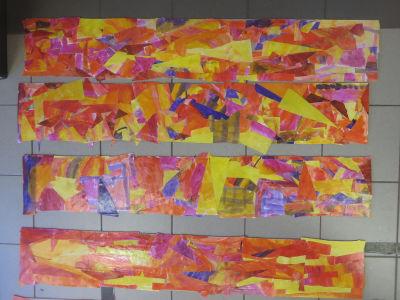 Collages aux couleurs chaudes