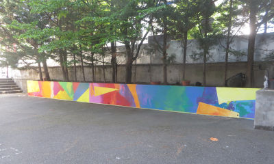 Etat d'avancement de la fresque après deux séances de travail