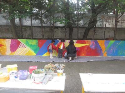 Peindre directement sur le mur de la cours