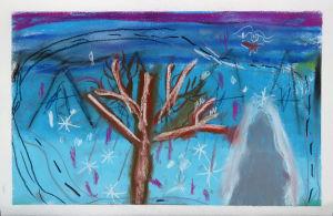 Paysage d'hiver peint par un enfant