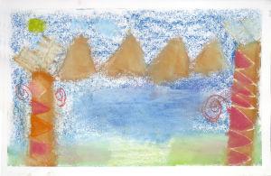 Paysage avec 2 arbres au pastel