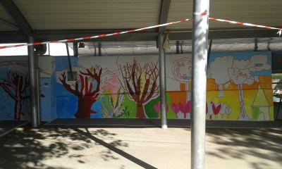 Réalisation d'une fresque peinte avec les enfants de l'école