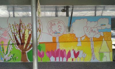 Partie de la fresque sur le thème de l'été