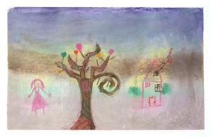 Un arbre dans la brume hivernale