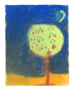 Cerisier sous la lune d'été