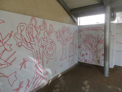 Etape intermédiare de la réalisation de la fresque
