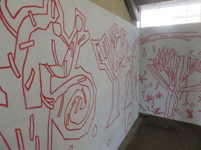 Détail du dessin de la fresque