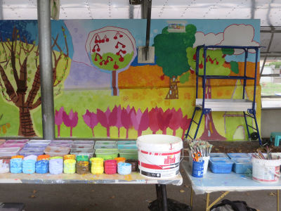 La préparation du matériel avant la séance de peinture