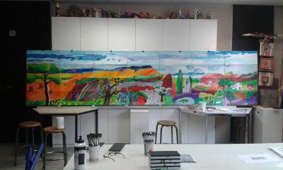 Le tableau de la salle polyvalente dans mon atelier