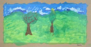 La pré avec deux arbres