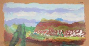 Deux cyprés devant le montagne
