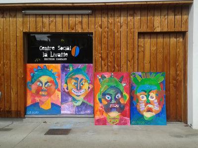 Portraits géants au centre social la Livatte à Roanne