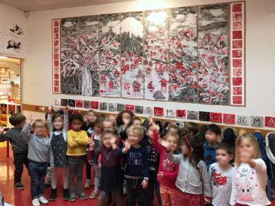 Inauguration de la fresque avec les enfants