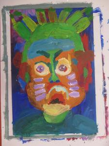 """Portrait """"méchant"""" aux cheveux verts"""