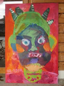 Peinture collective réalisée par des enfants de 7 ans