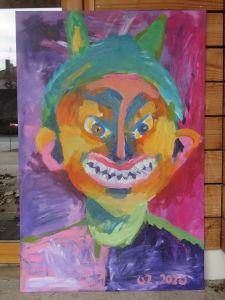 Portrait géant peint par les enfants