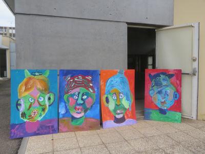 Les 4 portraits géants du centre de loisir de Mably