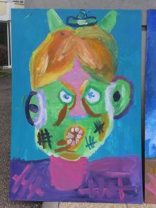 Portrait méchant peint par des enfants