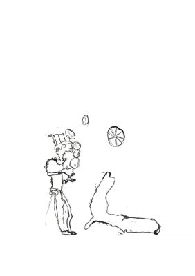 Jongleur de cirque avec une otarie