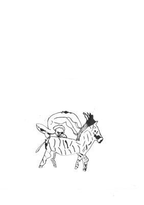 Dessin d'accrobate sur un cheval