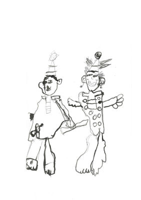 Deux clowns dessinés à l'encre
