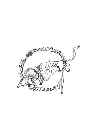 Numéro de cirque avec un lion