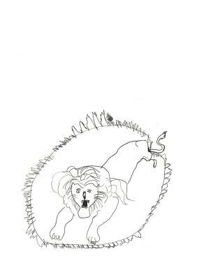 Un lion dans un cerceau de feu