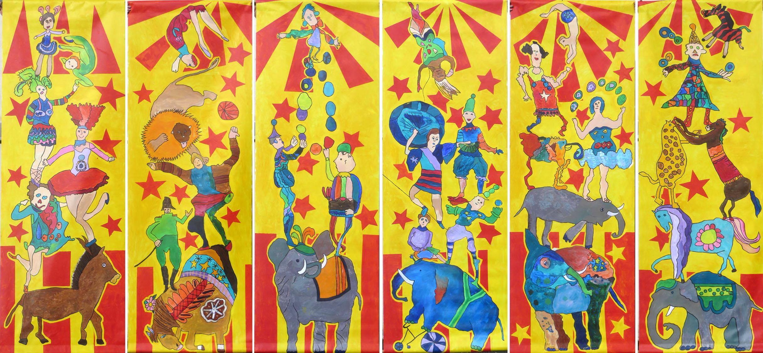 Les six bâches peintes du décor de scène