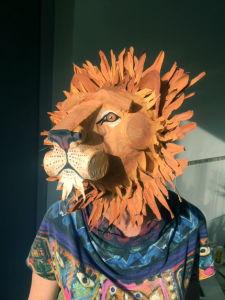 Tête de lion de trois quart