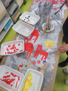 Oeuvre collective avec les enfants de maternelle