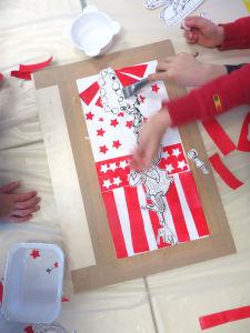 Composition en rouge et blanc