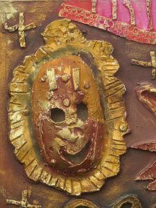 Masque en céramique peinte