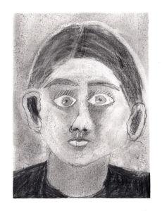 Portrait au crayon noir