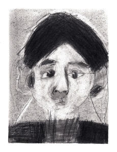 Autoportrait d'enfant en noir et blanc