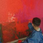 Peinture des fonds par les enfants de PS/MS